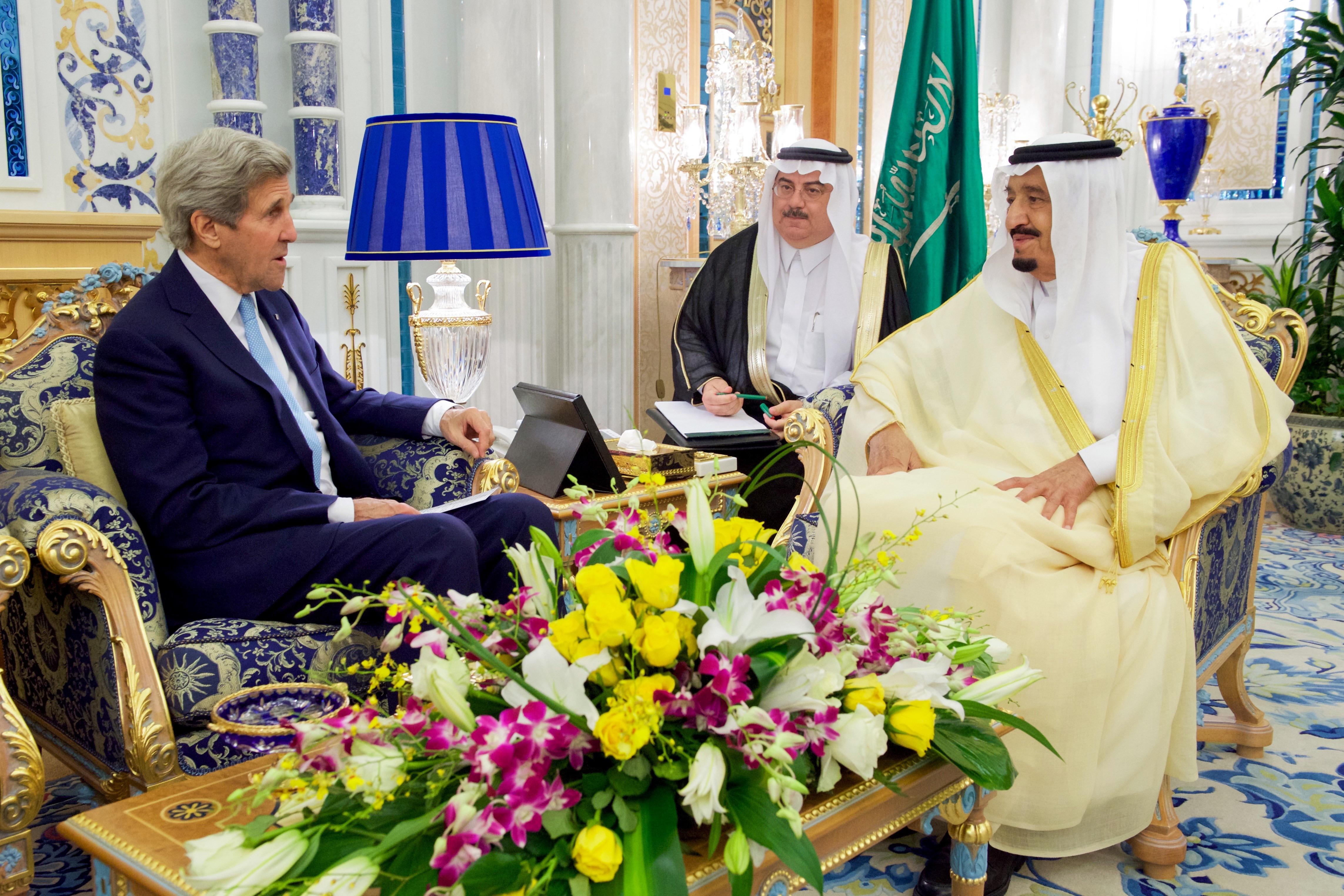Джон Керри на переговорах с Саудовской Аравией