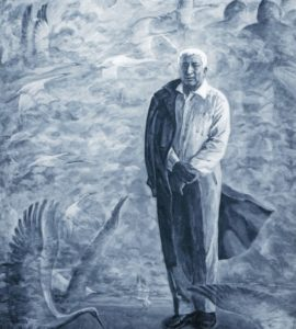 «Поэма о журавлях». Портрет дагестанского поэта Расула Гамзатова. Масло на холсте. 1998. Автор Asaf Mushailov