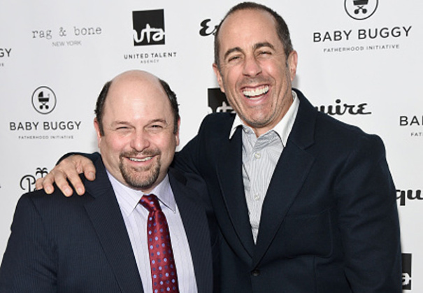 BEVERLY HILLS, CA - MARCH 04: Actor Jason Alexander and host Jerry Seinfeld attend the Inaugural Los Angeles Fatherhood Lunch to Benefit Baby Buggy hosted by Jerry Seinfeld at The Palm Restaurant on March 4, 2015 in Beverly Hills, California. (Photo by Michael Buckner/Getty Images for Baby Buggy)